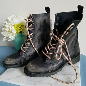 ZARA brushed MILITARY Biker lace up boots